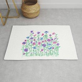 Cheerful spring flowers watercolor Rug