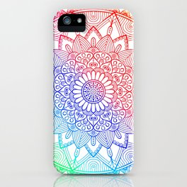 Rainbow Mandala Doodle iPhone Case