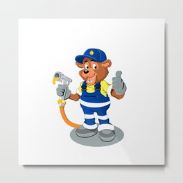 bear with oil gas pump heating Metal Print