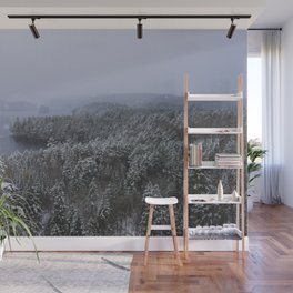 Snow falls in the forest ~ Wall Mural