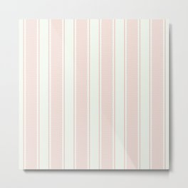 Vintage pastel pink stripes pattern Metal Print