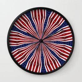American Flag Kaleidoscope Abstract 1 Wall Clock