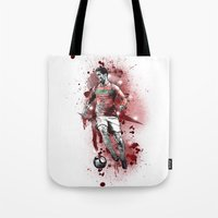 ronaldo Tote Bags featuring Cristiano Ronaldo - Portugal by Hollie B