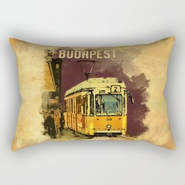 Retro Tram 2 in Budapest Rectangular Pillow