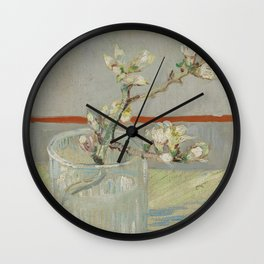 Sprig of Flowering Almond in a Glass Wall Clock