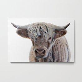 Highland Cow Acrylic Painting Metal Print