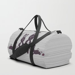 Easter Bunnies Posing For Their Photograph - Grey Black & White Duffle Bag
