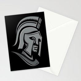 Spartan Warrior Head Metallic Icon Stationery Cards