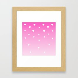 Pink Ombre with White Hearts Framed Art Print