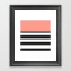 STRIPE COLORBLOCK {CORAL} Framed Art Print
