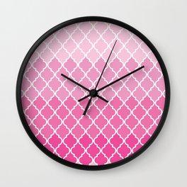 Ombre Moroccan Trellis, Latticework - Pink White Wall Clock