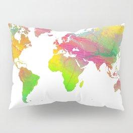 World Map - Watercolor 9 Pillow Sham