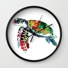 Sea Turtle Olive green, Sage green, Purple Turtle artwork Wall Clock