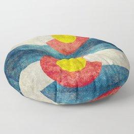 Retro Colorado State flag with leaf - Marijuana leaf that is! Floor Pillow