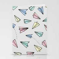 planes Stationery Cards featuring paper planes; by Pink Berry Patterns