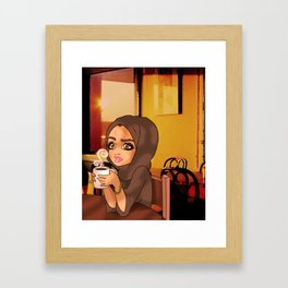 Young Emirati Lady in a Coffee Shop Framed Art Print
