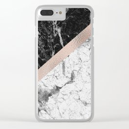 Monochrome marble designer - rose gold Clear iPhone Case