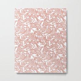 Soft Blush Floral Pattern Metal Print