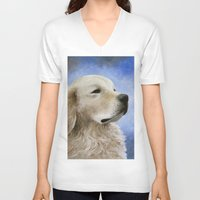 golden retriever V-neck T-shirts featuring Dog 98 Golden Retriever by ArtbyLucie