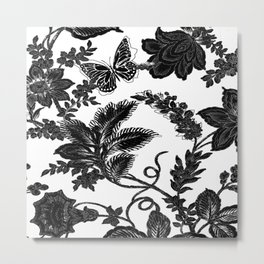 Paisley Jacobean black and White Metal Print