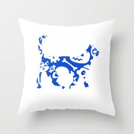 Blue And White Halloween Cat Throw Pillow
