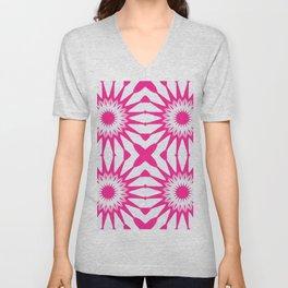 Hot Pink & White Pinwheel Flowers Unisex V-Neck