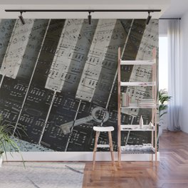 Piano Keys black and white - music notes Wall Mural