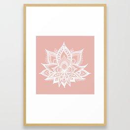 White Lotus Flower on Rose Gold Framed Art Print