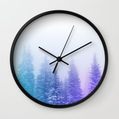 Blue and Purple Pines Wall Clock