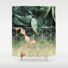 Leaves And Cubes 2 Shower Curtain