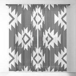 Third Eye Kilim in Black and White Sheer Curtain