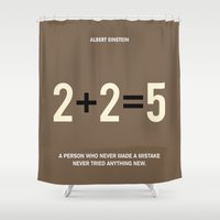 motivational Shower Curtains featuring Lab No. 4 - Albert Einstein Motivational Quotes Poster by Lab No. 4
