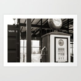 A vintage street in Texas black and white Art Print