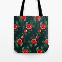 floral pattern Tote Bags featuring Floral Pattern by Heart of Hearts Designs