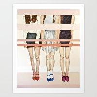 Three Girls & Stripes  Art Print