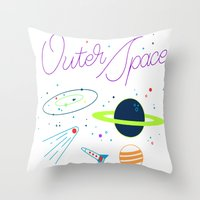 outer space Throw Pillows featuring Outer Space! by Conscious Transmitter