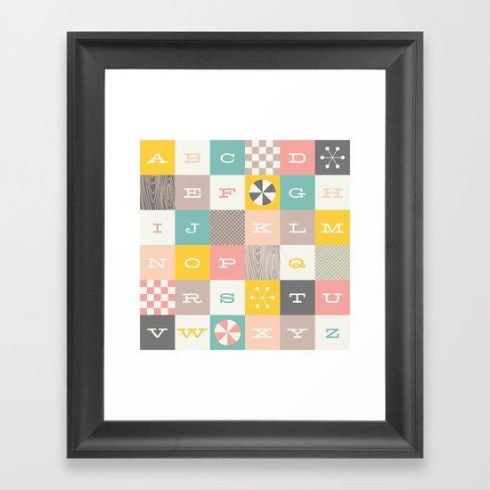Block Alphabet - in Carnation Framed Art Print