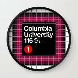 subway columbia university sign Wall Clock