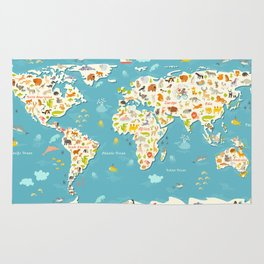 Animals world map. Beautiful cheerful colorful vector illustration for children and kids Rug