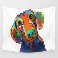 dachshund Wall Tapestries featuring Dachshund by Marlene Watson