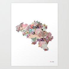 Belgium map - Portrait Art Print