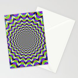 Psychedelic Star in Yellow Pink Blue and Green Stationery Cards