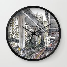Hong Kong tiny park under bridge, Urban sketch Wall Clock