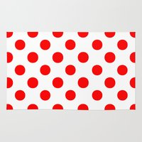 polka dots Area & Throw Rugs featuring Polka Dots (Red/White) by 10813 Apparel