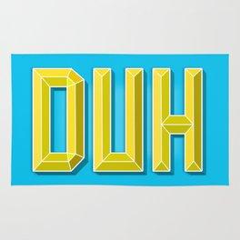 """DUH"" 3D Letters (Light Blue, Yellow) Rug"
