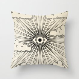 Radiant eye minimal sky scene with clouds - black lines on neutral Throw Pillow