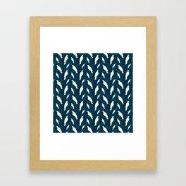 Kereru and magnolia - navy  Framed Art Print