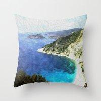 greek Throw Pillows featuring Greek coastline by Brian Raggatt