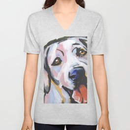 Yellow Lab Labrador Retriever Dog Portrait Pop Art painting by Lea Unisex V-Neck