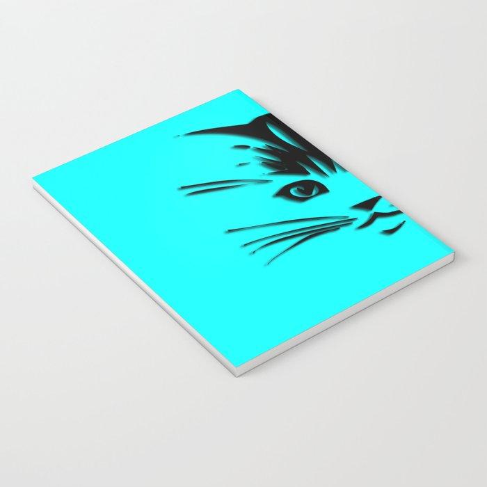 Aqua Kitty Cat Face Notebook